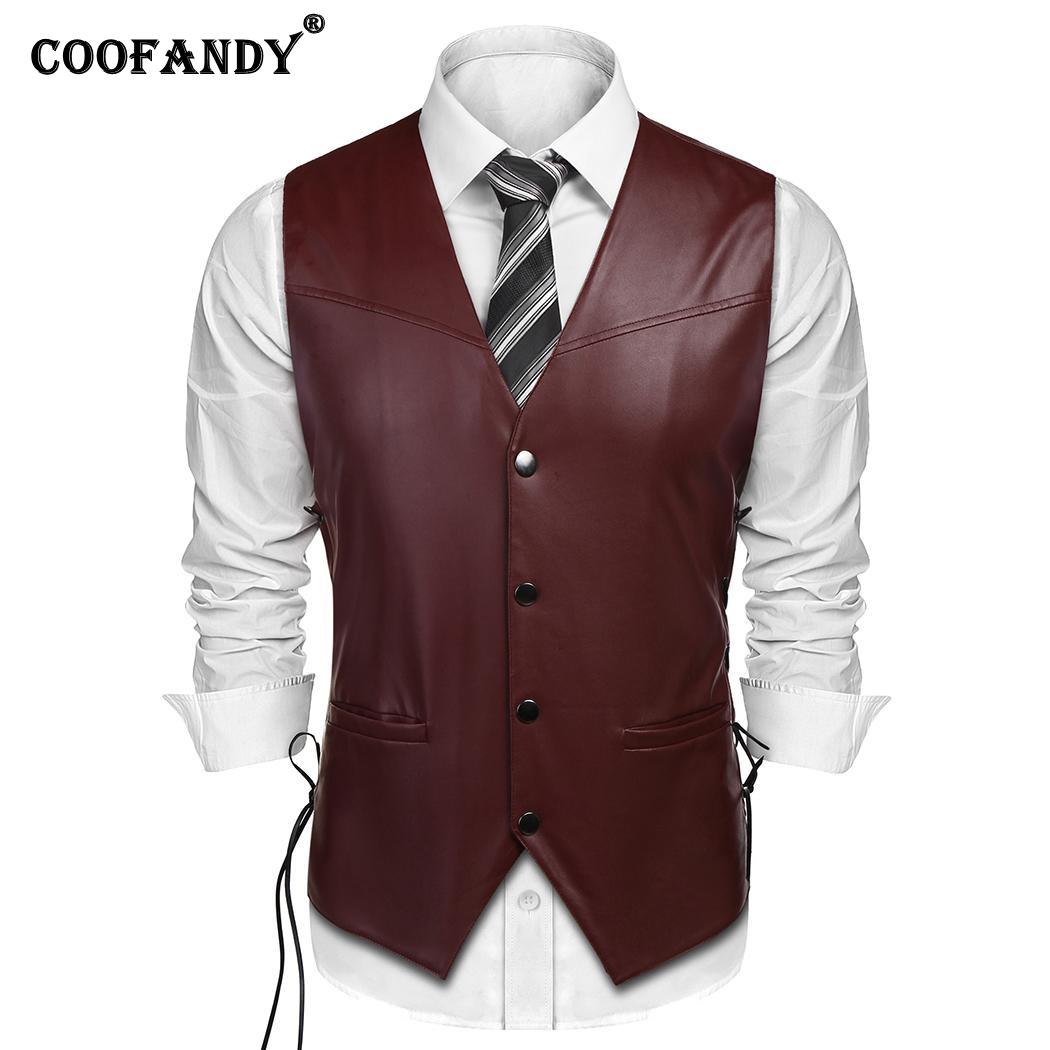 Vest Casual Sleeveless V-Neck Winter Snap-Button Lace-Up Sides Artificial-Leather Men