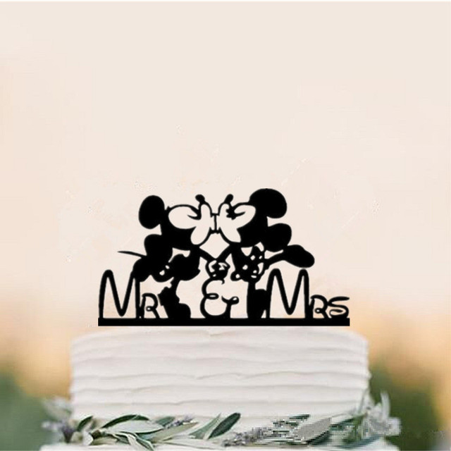 Kissing Mickey And Minnie Mouse Wedding Cake Topper For Cake
