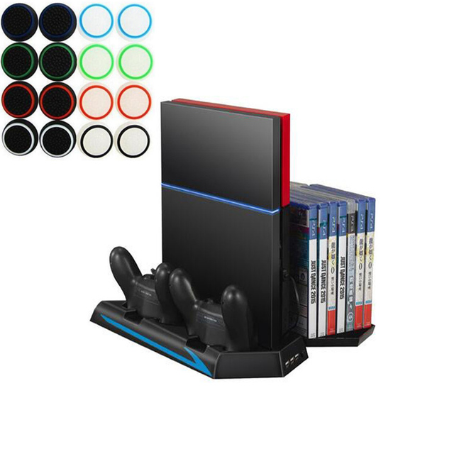 PS4 Vertical Stand Cooling Fan Game Holder Dual Charging Station W/ USB HUB  Disc CD