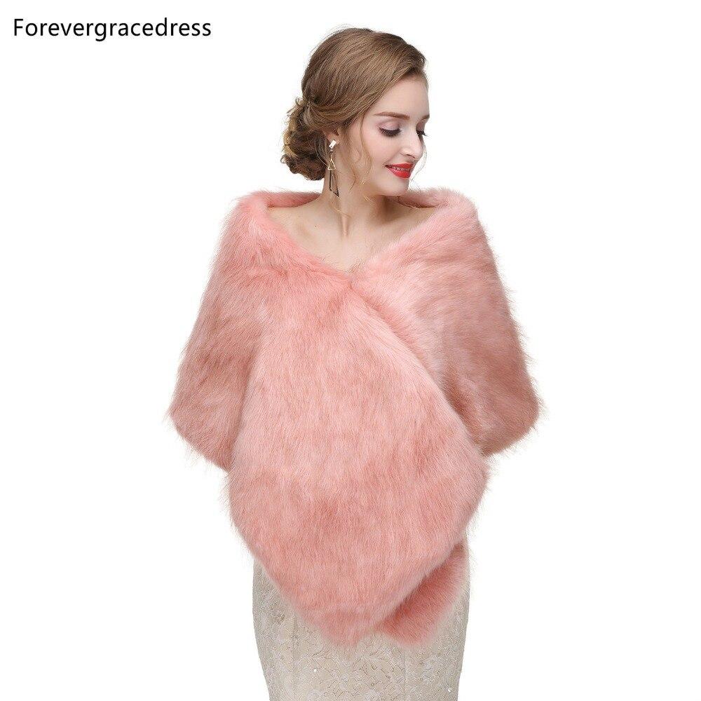 Forevergracedress 2019 Elegant Soft Autumn Winter Faux Fur Bride Wedding Wraps Bolero Jackets Bridal Coats Shawls Scarves PJ419