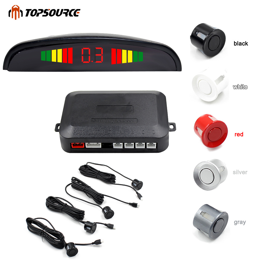 Coche Auto Led Sensor de aparcamiento Parktronic pantalla 4 sensores reversa asistencia Radar Detector luz corazón Monitor sistema