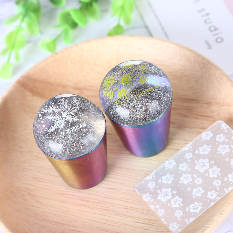 1pc clear Silicone Head Nail Art Stamper Rainbow Handle Holographic For Stamping Template with scraper