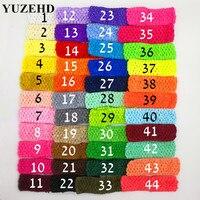 52 unids/lote envío gratis pelo banda Crochet diademas pelo de los niños para Niños Accesorios para el pelo 44 color en stock D01