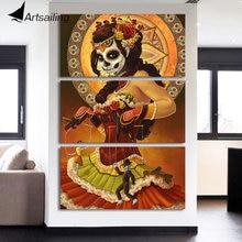 HD с 3 шт. холсте День мертвых Для лица картины настенные панно для гостиной современный Бесплатная доставка/NY-7140C
