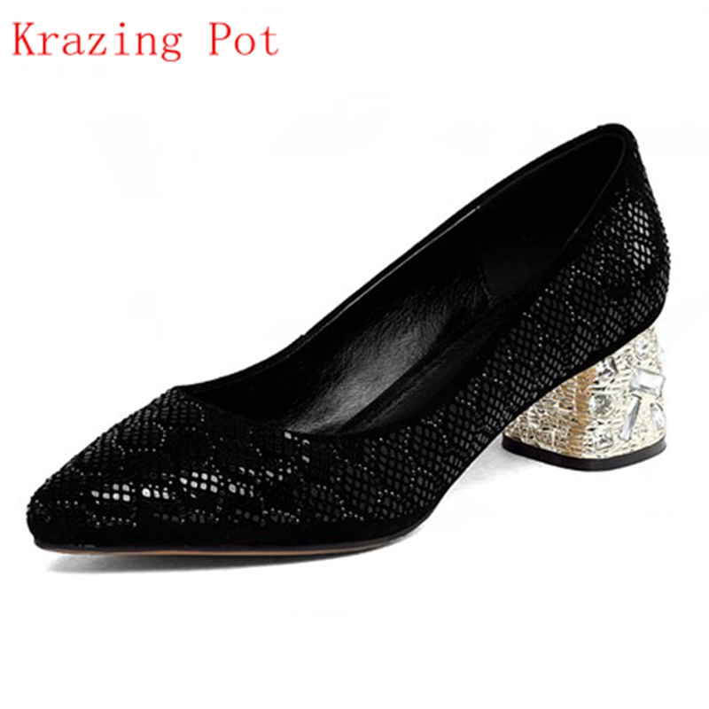 2018 New Fashion Autumn Brand Plus Size 34-43 Nubuck Leather Med Heel Women Pumps Pointed Toe Elegant Rhinestone Causal Shoe L11