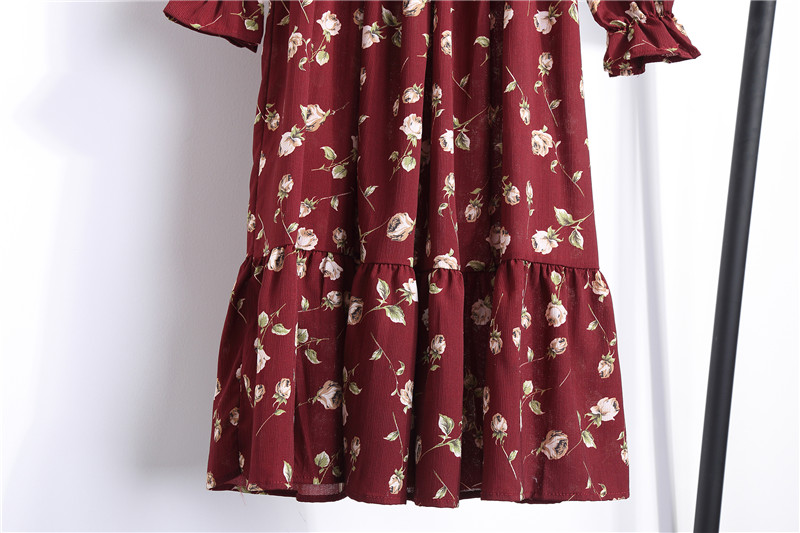 19 Autumn Winter Dress Women Chiffon Midi Casual Red Floral Long Sleeve Office Dress Polka Shirt For Ladies Dress Vestidos 10