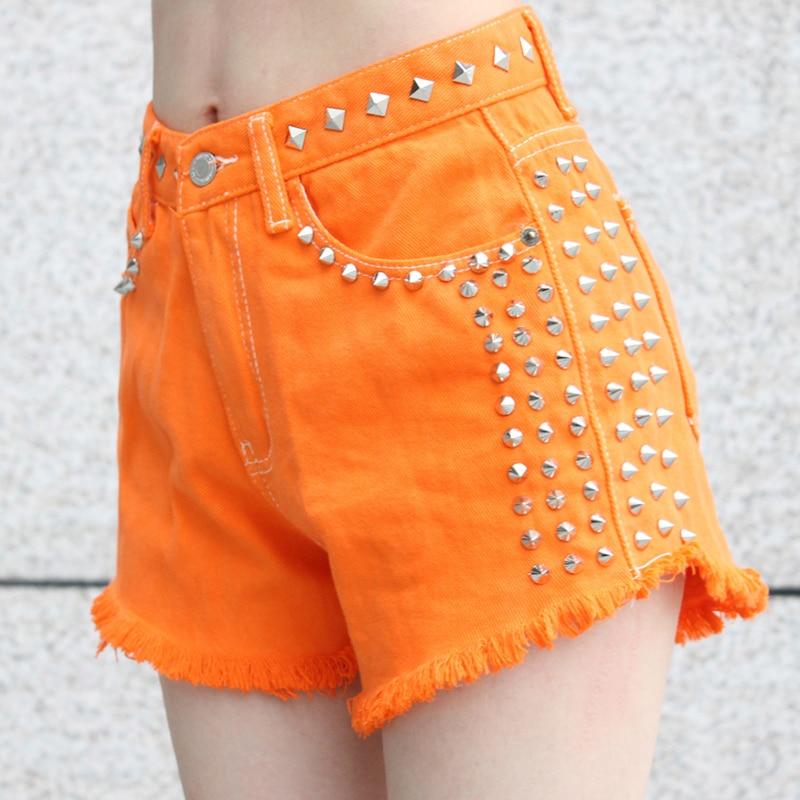ФОТО Summer women's candy color orangecolor  personalized metal rivet denim shorts pants lady's sexy hip-hop punk rivet shorts