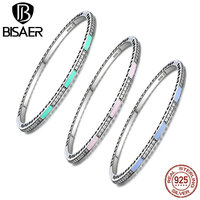 Authentic 100 925 Sterling Silver Radiant Hearts Colorful Silver Enamel Clearly CZ Oval Bangles Bracelets Jewelry