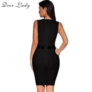 Image 3 - Deer Lady Black Bandage Dress 2019 Summer Bodycon Mini Dress Clubwear Pink Mesh Sexy Patchwork Bodycon Bandage Dress Party
