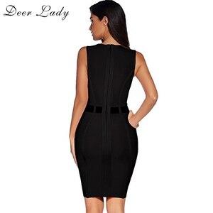 Image 3 - Lady Deer ผ้าพันคอสีดำชุด 2019 ฤดูร้อน Bodycon Mini Dress Clubwear ตาข่ายสีชมพูเซ็กซี่ Patchwork Bodycon ผ้าพันแผลชุด