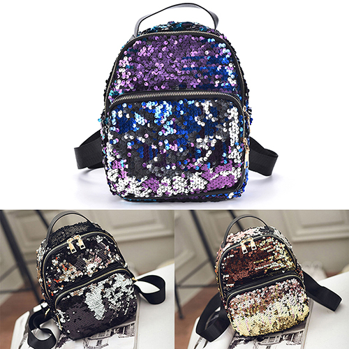 Jetting 2017 New Arrival Women All-match Bag Pu Leather Sequins Backpack Girls Small Travel Princess Bling Backpacks 3 Colors #5