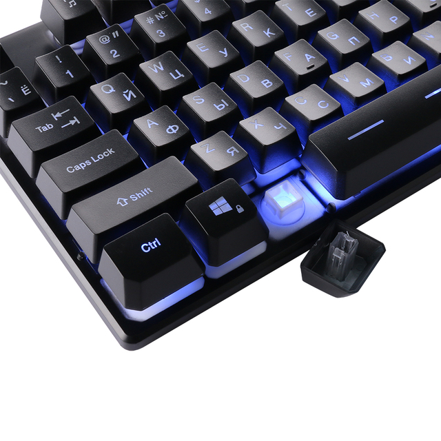 DBPOWER Russian Customized Gaming Keyboard with 3 Colors Backlit Keycaps Teclado Gamer for PC Games with Similar Mechanical Feel
