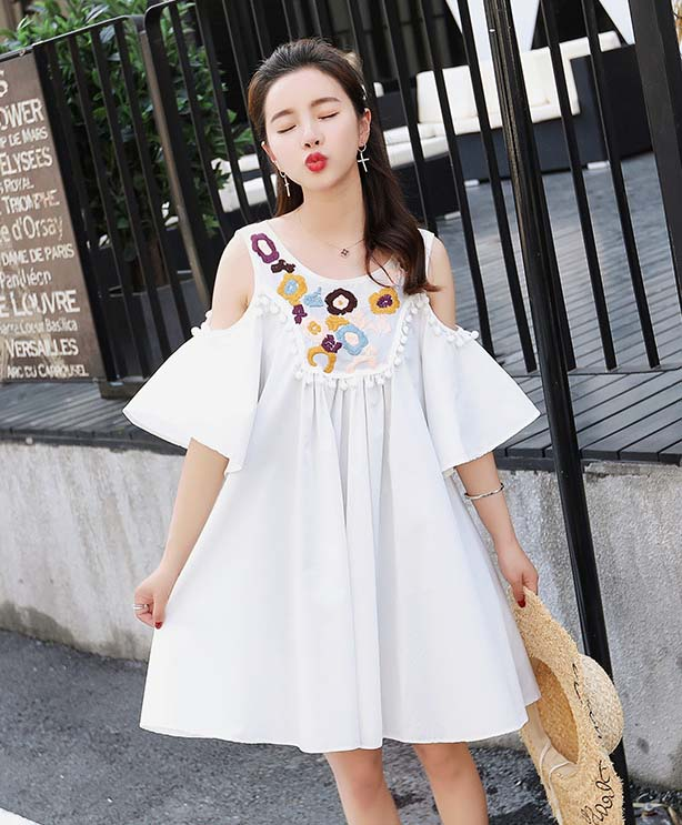 Maternity dress, summer flower dress, casual wear, Tassels mon wear LD8DS-02 [Eleven Story]