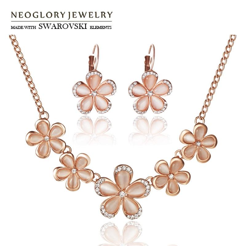 Neoglory Jewelry-Set Earrings Necklaces Rhinestone Flower-Design Party Opal Austria Trendy