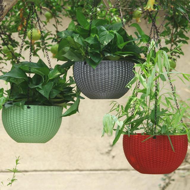 籐 Waven バスケット革新的な多肉植物ぶら下げポット花バルコニーガーデン植物バスケット花植物装飾