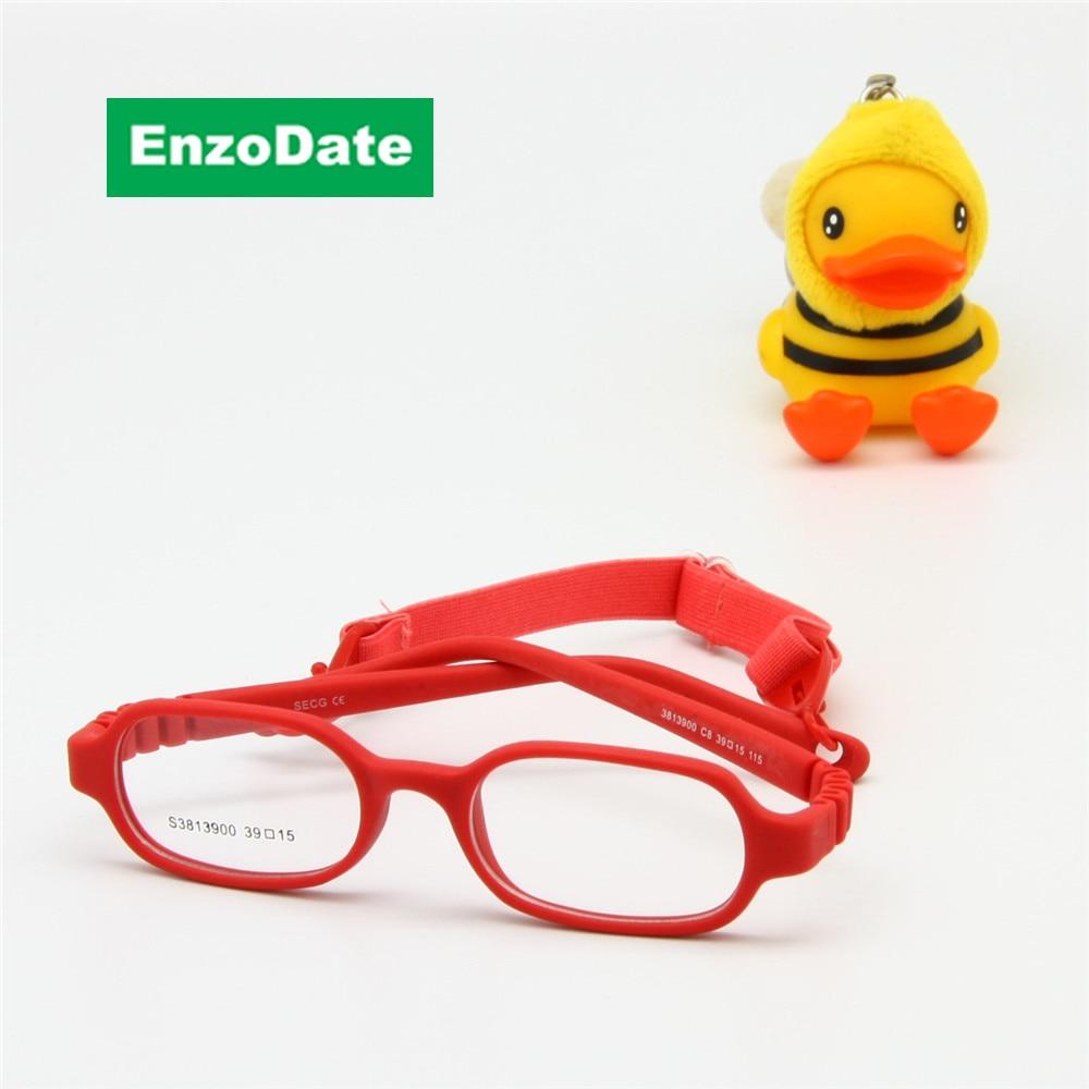 Bebés e meninos óculos ópticos com cinta tamanho 39, sem parafuso de uma peça Kid flexível quadro banda cabo retentor