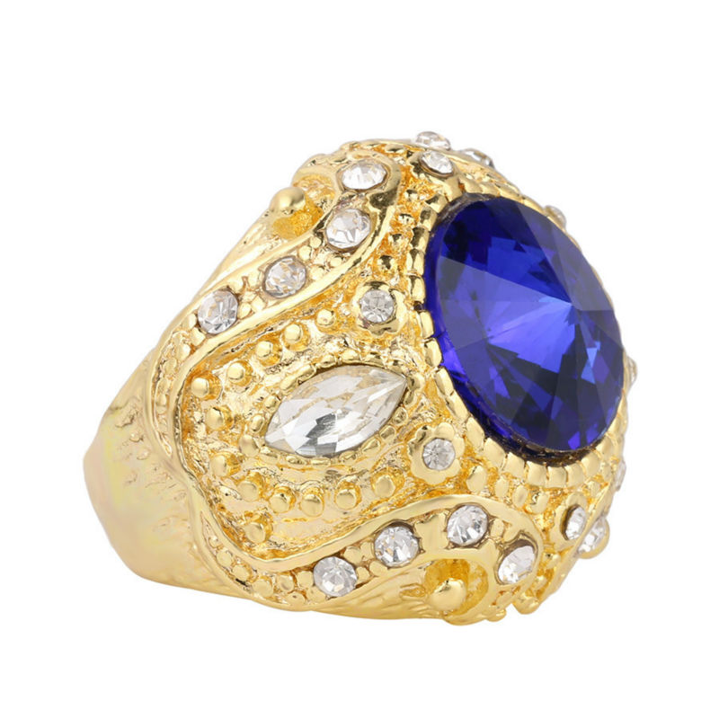 Joyme joyería turca de lujo anillo masculino de boda azul piedra oro - Bisutería - foto 3