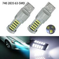 2Pcs 7440 63 SMD T20 2835 LED Car Brake Light Turn Signal Led Light White DC
