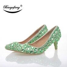 BaoYaFang/женская свадебная обувь; туфли с острым носком на высоком каблуке с зелеными кристаллами; женские вечерние модельные туфли из натуральной кожи на каблуке 6 см
