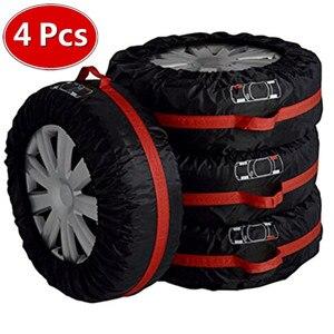 Image 1 - 4 uds. Funda de neumático de repuesto, poliéster, invierno y neumático de coche de verano, bolsas de almacenamiento, accesorios para neumáticos de coche, Protector de ruedas de vehículo