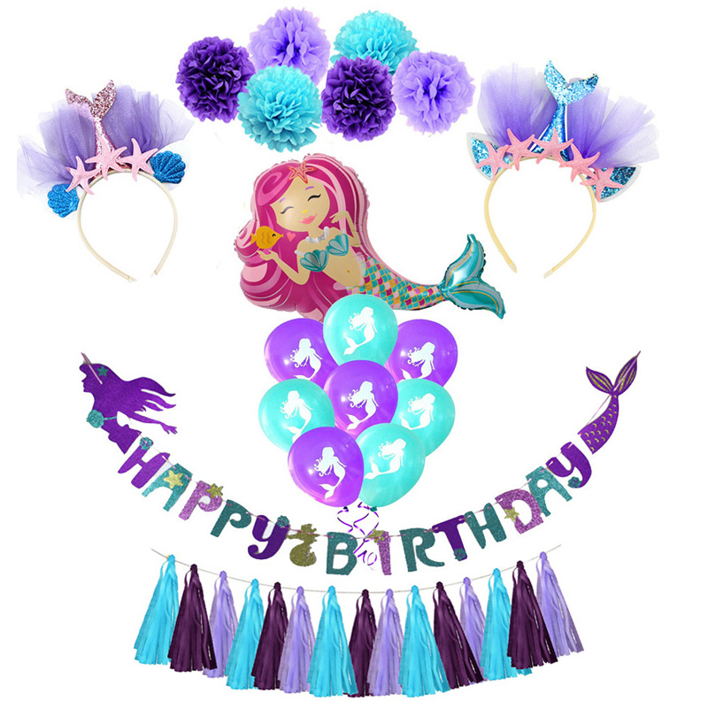 Little Mermaid Balloon Party Glitter Happy Birthday Banner Garlands Birthday Party Decoration Girl First Mermaid Headband Decor
