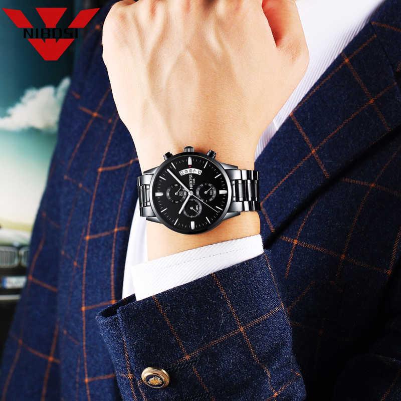 NIBOSI Casual นาฬิกาผู้ชายหรูหราแบรนด์นาฬิกาควอตซ์ทหารกันน้ำกีฬานาฬิกาหนังผู้ชายนาฬิกาข้อมือ relogio masculino