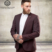 One Buttons Slim Groom Tuxedos Two Pieces Groomsmen Best Man Suits Mens Wedding Suits Groom