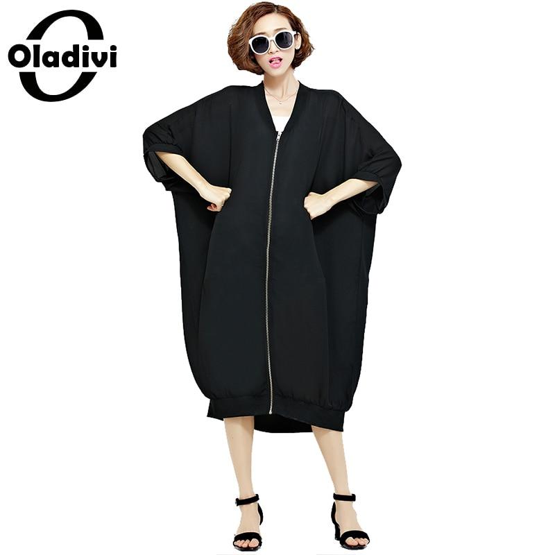 Oladivi Plus Size Women Fashion Zip Long Beach   Blouse     Shirt   Lady Sun Protection Top Tees Female Oversized   Shirts   Kimono Cardigan