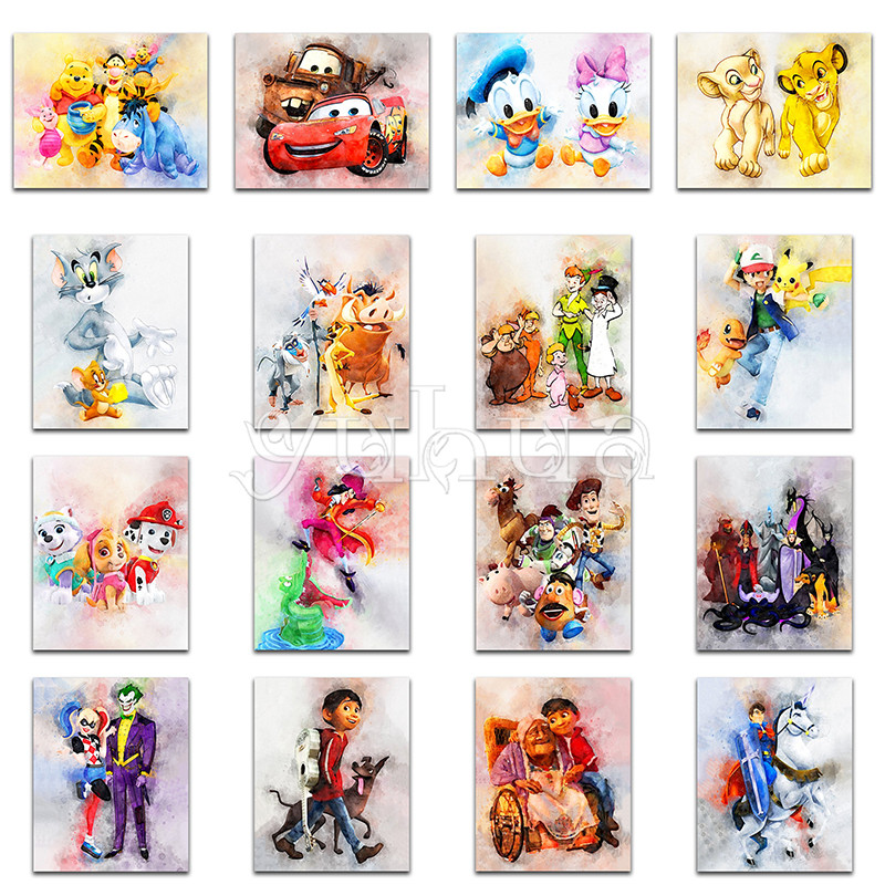 5D Diamond Painting Embroidery Cross-Stitch Pooh Pokemon Round Disney Winnie Cartoon