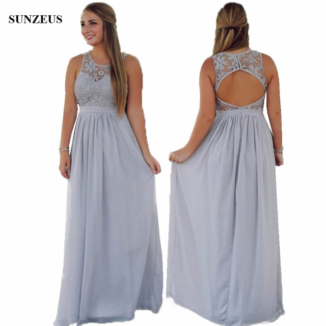 Grey Bridesmaid Dresses Long Chiffon A line Wedding Party Gowns Lace ...