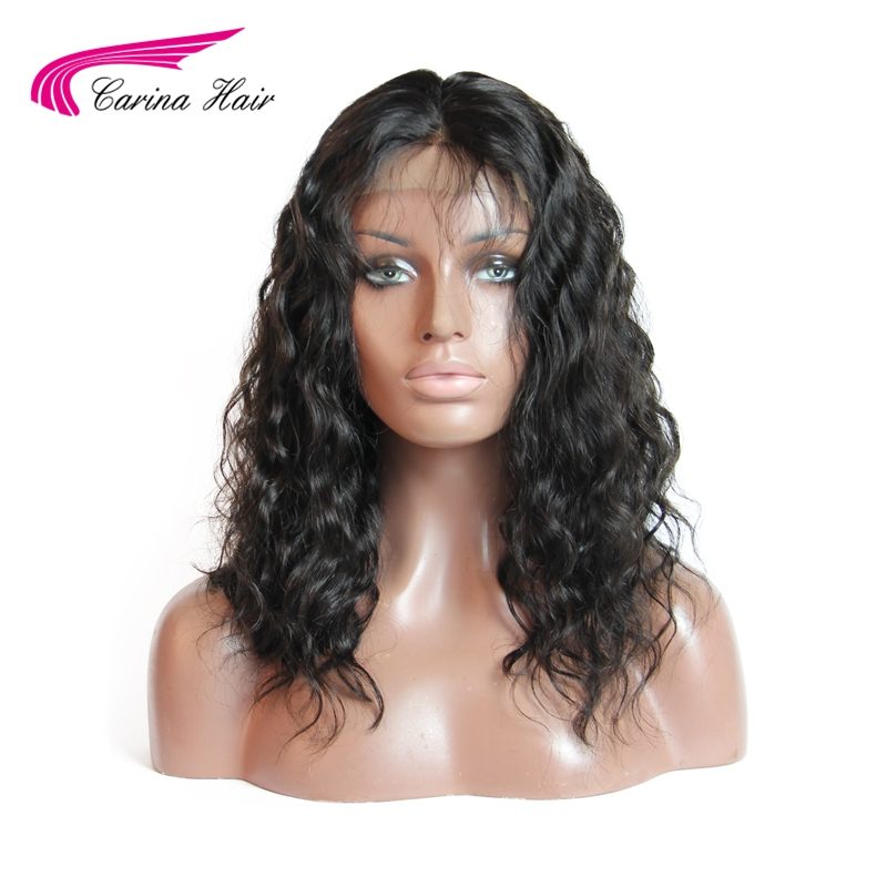 Carina Hair Deep Wave Malaysian Non-Remy Human Hair Full Lace Hair Wigs For Black Women Middle Part Short Wigs Bleached Knots