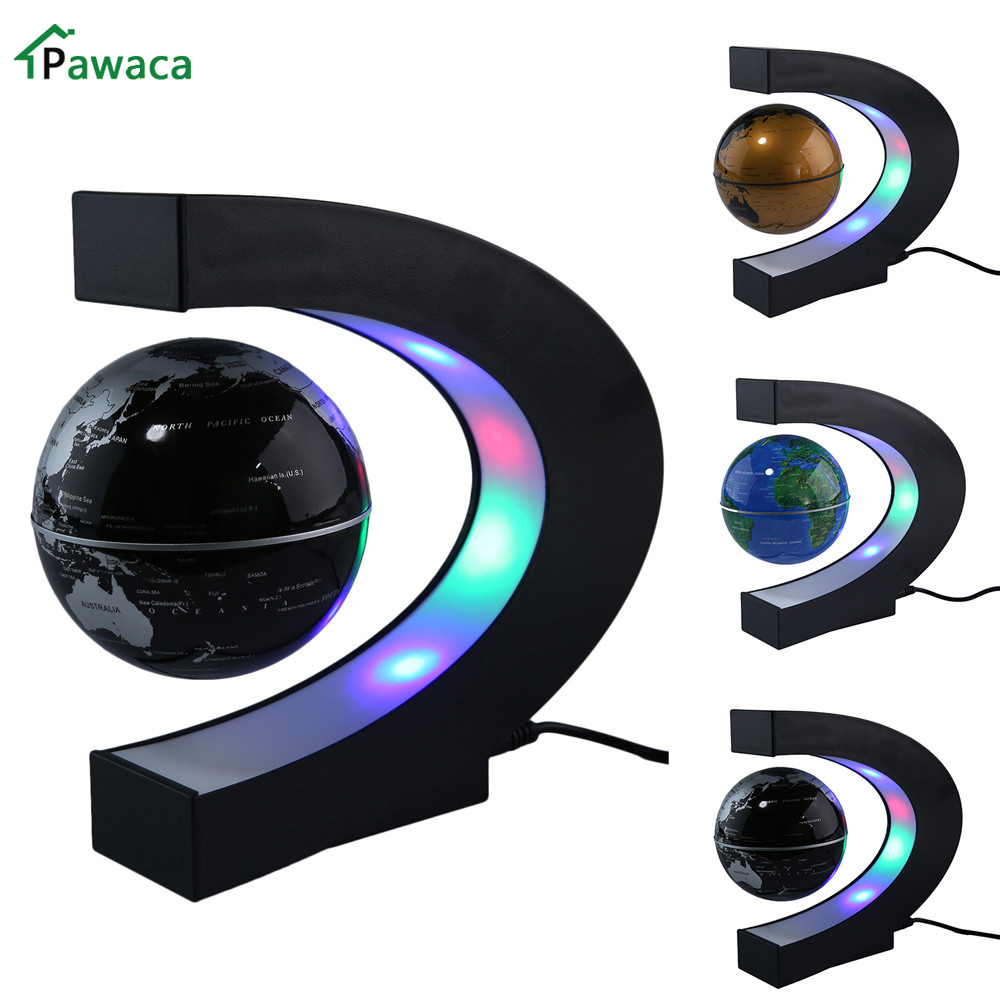 US / EU / UK Plug Hjem Kontor Dekoration LED Flytende Tellurion Globe C Form Magnetic Levitation Light World Map Med LED Tellurion