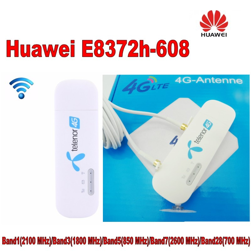 Unlocked Huawei E8372 E8372h-608 150Mbps 4G LTE USB modem Mobile WiFi dongle with 35DBI TS9 4g antenna zte mf823d driver free modem 4g lte dongle unlocked black