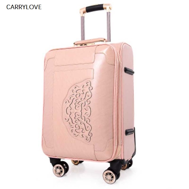 CARRYLOVE Super cute Rolling Luggage Spinner PU Leather Wheel Suitcases 20 inch Password Trolley Women Cabin Travel BagCARRYLOVE Super cute Rolling Luggage Spinner PU Leather Wheel Suitcases 20 inch Password Trolley Women Cabin Travel Bag