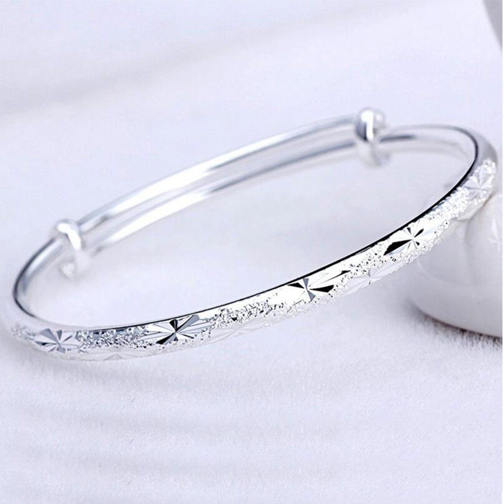 925 Sterling Silver Bangles Adjustable Scrub Star Bracelets & Bangles For Women pulseras Valentines Gift S-B62