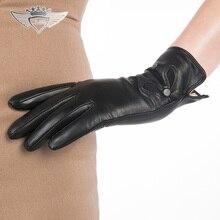 2015 Women Leather Gloves Fashion Genuine Top Quality Wrist Goatskin Winter Sheepskin Driving 715