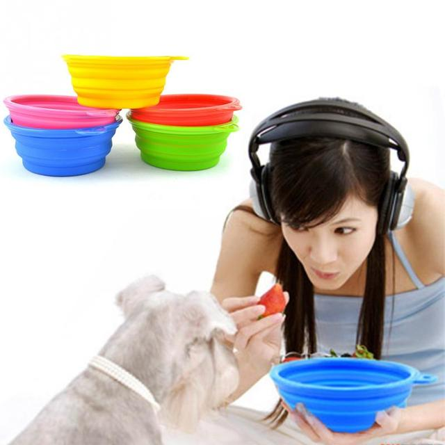 Silicone Collapsible Pet Dog Bowl Food Water Feeder Portable Foldable Drinking Bowls Products For Dogs