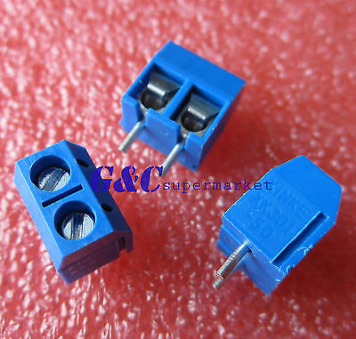 10pcs KF301-2P 2 Pin Plug-in Screw Terminal Block Contor 5.08mm Pitch Blue
