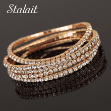 Fashion Brand Luxury Women Full Rhinestones Gold Color  Hand Bangle Austrian Crystal Bracelet Jewelry Wedding Gift цена 2017