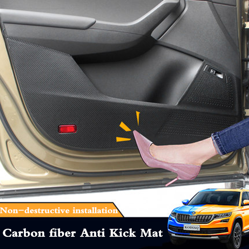Carbon Fiber Door Anti Kick Pad Protective Trim For Alfa Romeo Stelvio 2017-18