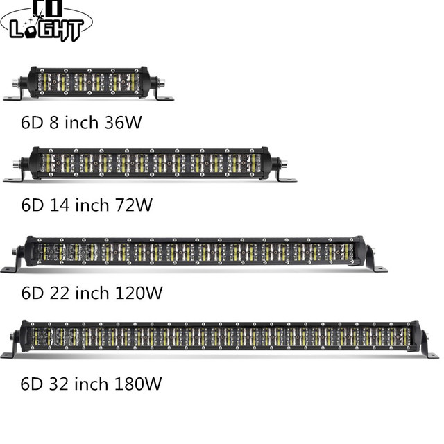 """CO LIGHT 6D Light Bar 8"""" 14"""" 22"""" 32"""" Led Work Light Combo Beam Dual-Row for Truck Boat 4x4 4WD ATV Offroad Auto Driving LED Bar"""