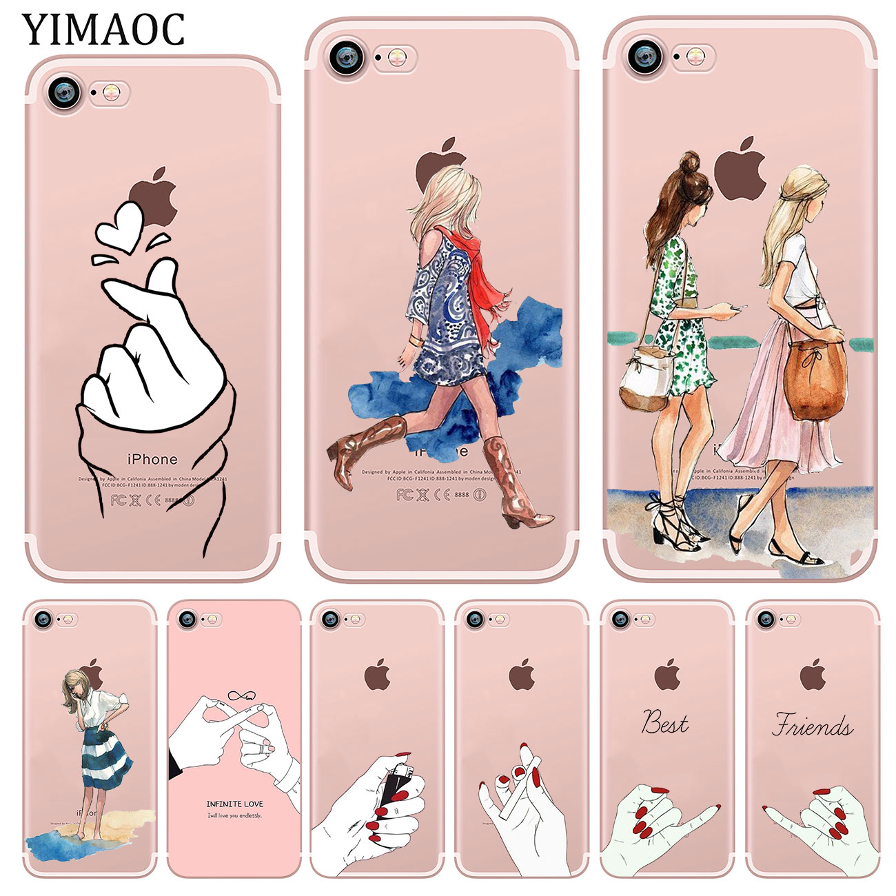 YIMAOC Best Friend Girlfriend Boyfriend Shopping girl Soft Silicone Case for iPhone X XS Max XR 5 5S SE 6 6S 7 8 Plus 10 Cover