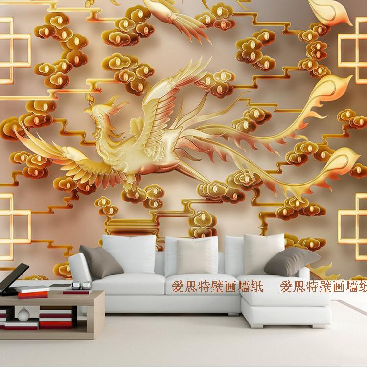 Free Shipping 3D stereo living room TV background wallpaper Chinese modern minimalist jade carved phoenix mural  free shipping chinese ink classical retro wallpaper mural living room tv room wallpaper