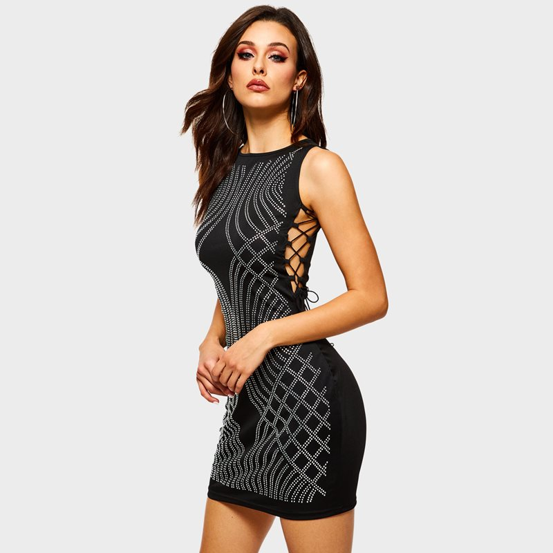 Women Sexy Hot drilling Dress Crop Top Midi Dress Evening Party Date Gothic Black Sequin Print Striped Bodycon Dress