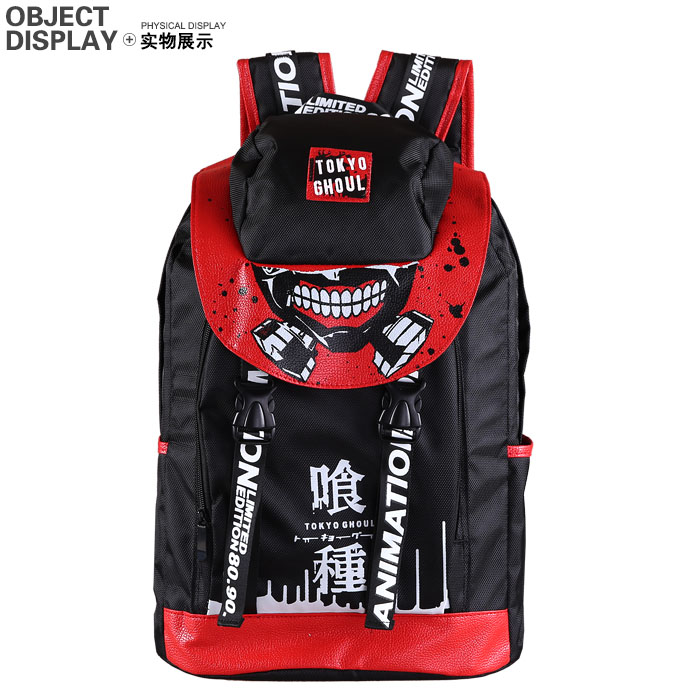 Anime <font><b>backpack</b></font> Tokyo Ghoul kaneziki cartoon multi-function <font><b>leather</b></font> shoulder bag pencil bag cosplay schoolbag adult kids <font><b>unisex</b></font> image