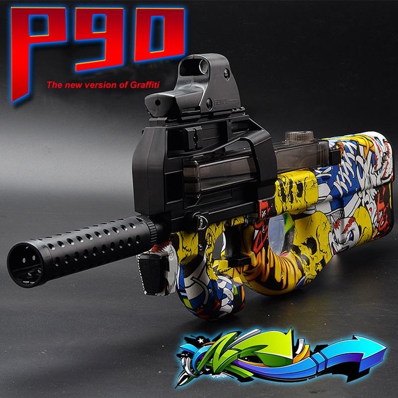 Abbyfrank Graffiti Édition P90 Électrique Jouet Pistolet Paintball Vivre CS D'assaut Snipe Arme Eau Douce Balle Éclate Pistolet Extérieur Jouet
