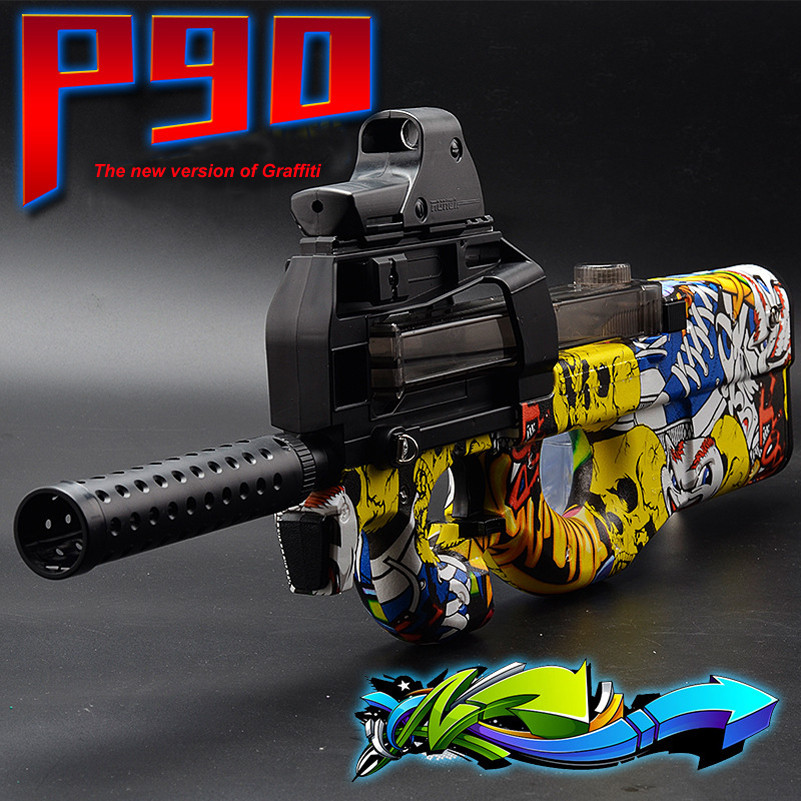 Abbyfrank Graffiti Edition P90 Electric Toy Gun Paintball Live CS Assault Snipe Weapon Soft Water Bullet Bursts Gun Outdoors Toy electric plastic p90 graffiti edition toy gun soft water bullet toy gun outdoors live cs weapon tattoo water gun toys for kids