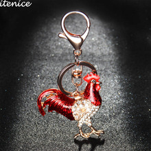 Itenice New Lovely Crystal Fashion Jewelry Accessories Rhinestone Alloy Distinctive Cock Animal Key Chain For Women Gifts