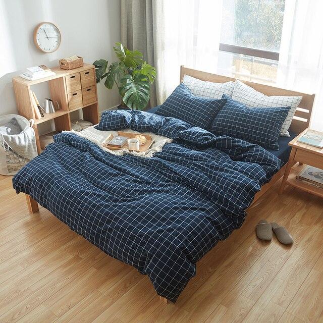 4 Stücke 100 Gewaschener Baumwolle Bettwäsche Dunkelblau Kontrollen