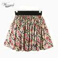 Venda quente Flor Impressão Saias Das Mulheres 2017 Verão Moda de Alta cintura casual mini saia new sweet curto saias frete grátis SK-016